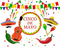 Cinco de Mayo inscription in the center. Sombrero, guitar, confetti, flags, maracas green and red peppers. illustration Stock Image
