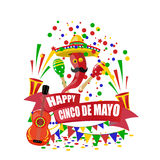 Cinco de Mayo. An inscription with a desire for happiness on the tape. Sombrero, guitar, confetti , flags, maracas and Stock Photography
