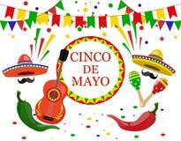 Cinco de Mayo inskrift i mitten Sombrero, gitarr, konfettier, flaggor, gröna maracas och röda peppar illustration royaltyfri illustrationer