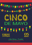 Cinco de mayo invitation poster. Mexican party. Event Stock Images
