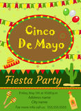 Cinco de Mayo invitation template, flyer. Mexican holiday postcard. Vector illustration. Stock Images