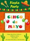 Cinco de Mayo invitation template, flyer. Mexican holiday postcard. Vector illustration. Royalty Free Stock Photo