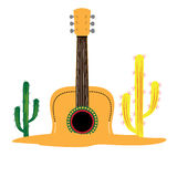 Cinco de mayo. Isolated guitar with a pair of cactus, Cinco de mayo vector illustration stock illustration