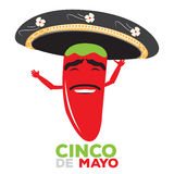 Cinco de mayo. Isolated happy pepper with a traditional hat, Cinco de mayo vector illustration