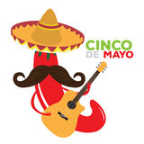 Cinco de mayo. Isolated pepper with a traditional hat and a guitar, Cinco de mayo vector illustration