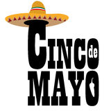 Cinco de mayo. Isolated text with a mexican hat, Cinco de mayo vector illustration