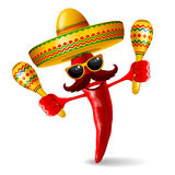Cinco de Mayo jalapeno. Cheerful red pepper jalapeno in sombrero and with maracas - symbols of mexican holiday Cinco de Mayo. Isolated on white background