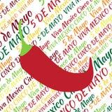 Cinco DE Mayo Jalapenopeper op de achtergrond van de tekst