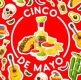 Cinco de Mayo-kaart met het Mexicaanse voedsel van de fiestapartij