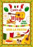 Cinco de Mayo-kaart van de fiesta de Mexicaanse vectorgroet