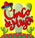Cinco de Mayo-kaartmalplaatje met cactusinstallaties
