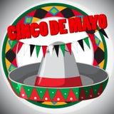 Cinco de Mayo-kaartmalplaatje met hoed en vlaggen