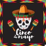 Cinco de Mayo-kaartmalplaatje met schedel die hoed dragen