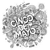 Cinco De Mayo Karikaturvektor Hand gezeichnete Gekritzelillustration Stockbild
