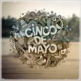 Cinco De Mayo Karikaturvektor Hand gezeichnete Gekritzelillustration Lizenzfreie Stockbilder