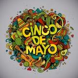 Cinco De Mayo Karikaturvektor Hand gezeichnete Gekritzelillustration Stockbilder