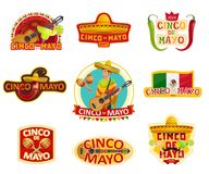 Cinco de Mayo label for Mexican holiday party. Mexican holiday fiesta party label for Cinco de Mayo celebration. Spring festival sombrero, chili pepper and Royalty Free Stock Images