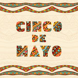Cinco De Mayo Lettering For Card With Bright Mexican Borders. Colorful ethnic ornament for ornate frame and art title. Festive elements for flyer, greeting card
