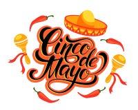 Cinco de Mayo lettering design. Royalty Free Stock Image