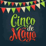 Cinco de Mayo lettering and garland. Vector color vintage engraving. Illustration.  on dark background Stock Photos