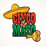 Cinco de Mayo lettering greeting text vector illustration.  Royalty Free Stock Photo