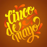 Cinco de mayo lettering. Hand written Cinco de mayo poster. Mode Stock Images