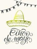 Cinco de mayo lettering. Handmade calligraphy. invitation, part. Cinco de mayo lettering. Handmade calligraphy vector illustration. invitation, party, greeting Stock Image