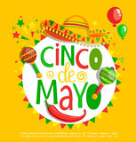 Cinco De Mayo, lettering on holiday background. stock illustration