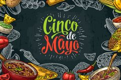 Cinco de Mayo lettering and mexican traditional food. With Guacamole, Quesadilla, Enchilada, Burrito, Tacos, Nachos, Chili con carne and ingredient. Vector royalty free illustration