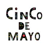 Cinco de mayo lettering text with flower elements. Traditional Mexican Holiday. Typography quote for greeting card, poster, vector illustration