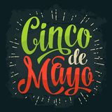 Cinco de Mayo lettering. Vector color vintage engraving illustration. Isolated on dark background Royalty Free Stock Photo
