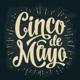 Cinco de Mayo lettering. Vector vintage engraving illustration. Stock Images