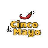 Cinco De Mayo logo. Hand drawn lettering and chili pepper. Vector illustration for advertising Stock Photos