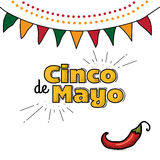 Cinco De Mayo logo. Hand drawn lettering and chili pepper. Vector illustration for advertising. Sale banner, poster with palm leaves, jungle leaf. Beautiful Stock Images