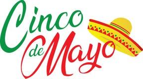 Cinco de Mayo Logo with Sombrero. Red and Green Cinco de Mayo Logo with Sombrero stock illustration