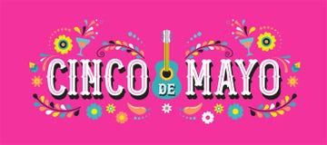 Cinco de Mayo - 5 maggio, festa federale nel Messico Progettazione dell'insegna e del manifesto di festa con le bandiere royalty illustrazione gratis
