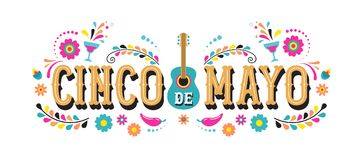 Cinco de Mayo - 5 maggio, festa federale nel Messico Progettazione dell'insegna e del manifesto di festa con le bandiere