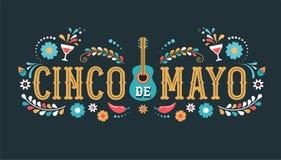 Cinco de Mayo - 5 de maio, feriado federal em México Projeto da bandeira e do cartaz da festa com bandeiras