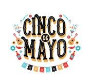 Cinco de Mayo - 5 de maio, feriado federal em México Projeto da bandeira e do cartaz da festa com bandeiras ilustração do vetor