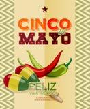 Cinco De Mayo Manifesto con il peperoncino rosso, maracas messicani Immagini Stock Libere da Diritti