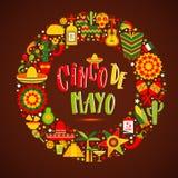 Cinco De Mayo Mano dibujada poniendo letras a frase Elemento del diseño para el cartel, postal Ilustración del vector