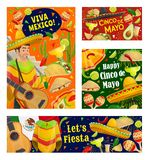 Cinco de Mayo mariachi with sombrero and guitar. Viva Mexico and Cinco de Mayo holiday vector greeting banners. Mexican fiesta party guitar, sombrero and cactus royalty free illustration