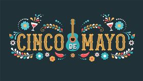 Cinco de Mayo - May 5, federal holiday in Mexico. Fiesta banner and poster design with flags. Flowers, decorations Stock Image