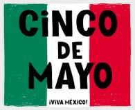 Cinco de Mayo-May Fifth Vector Poster disegnato a mano Bandiera messicana fatta delle bande verdi, bianche e rosse di lerciume royalty illustrazione gratis