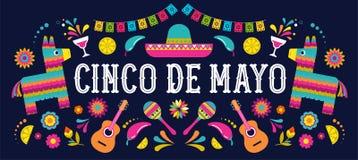 Cinco de Mayo - Mei 5, federale vakantie in Mexico Van de fiestabanner en affiche ontwerp met vlaggen, bloemen, decoratie royalty-vrije illustratie