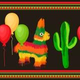 Cinco de Mayo Meksyka?ski ?wi?teczny Bezszwowy wz?r zdjęcie royalty free