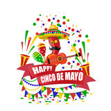 Cinco de Mayo. Merry Holiday. An inscription with a desire for happiness on the tape. Sombrero, guitar, confetti , flags Royalty Free Stock Image