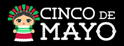 Cinco de Mayo met Mexicaanse Doll vectorillustratie