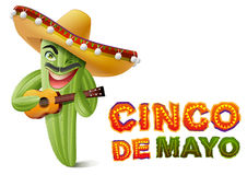 Cinco de Mayo. Mexican cactus in sombrero playing guitar. Greeting card template Stock Photo