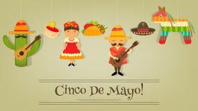 Cinco de Mayo. Mexican Card in Retro Style. Cinco de Mayo. Vector Illustration stock illustration
